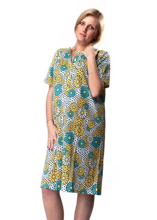 Ladies' short sleeve woven nightgown.Comfortable for nursing