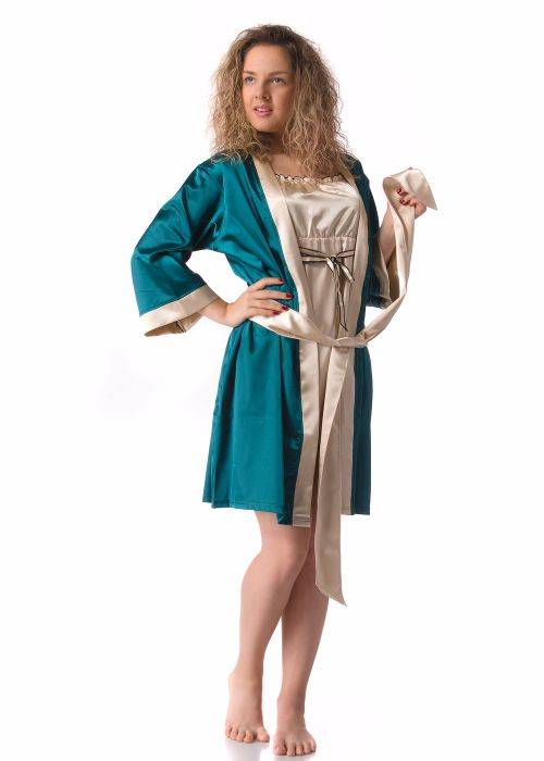 Ladies' dressing gown with ¾ sleeve