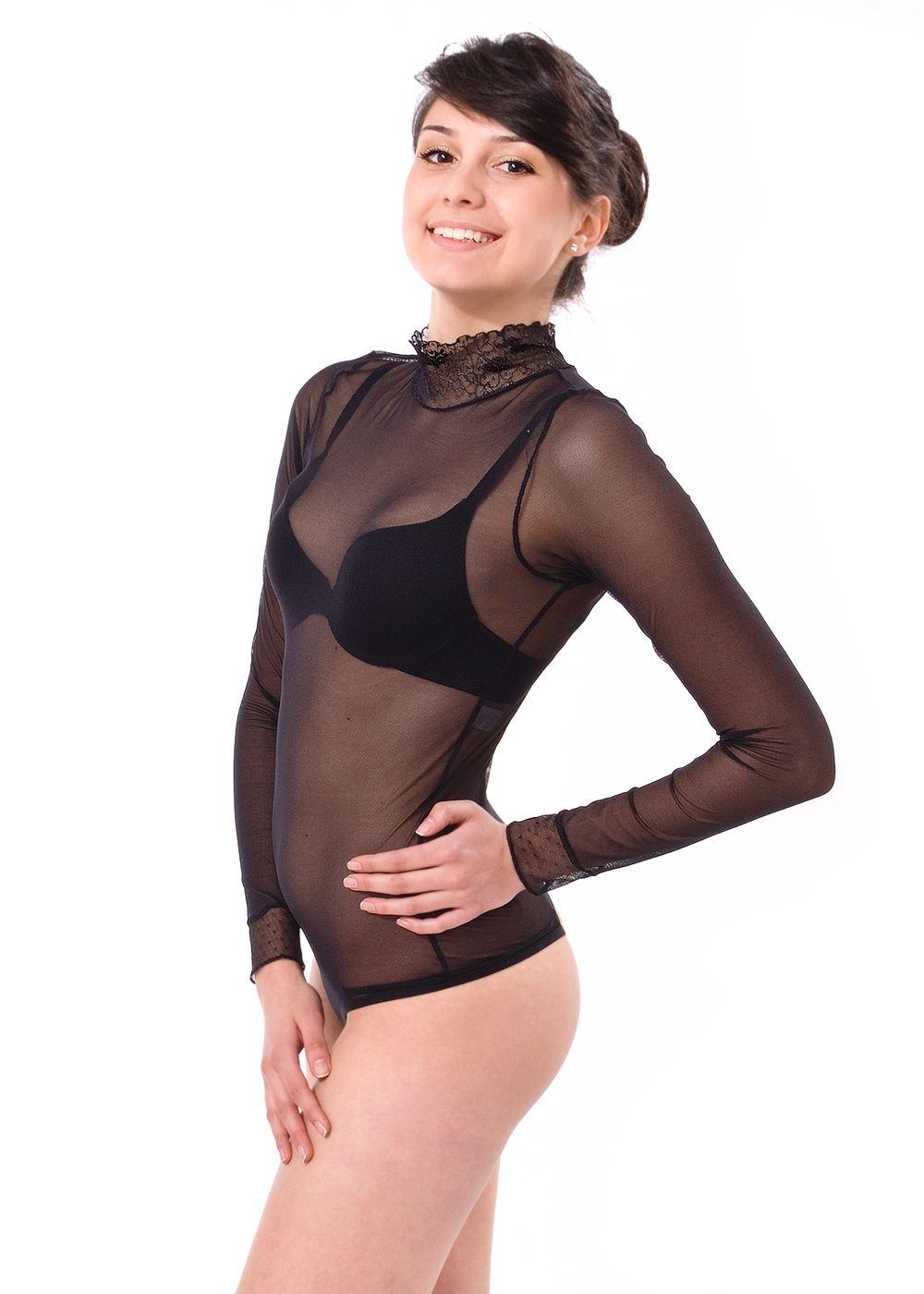 Ladies  tulle thong long sleeve bodysuit  d6368566d