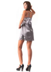 Ladies' satin nightgown with narrow adjustable straps