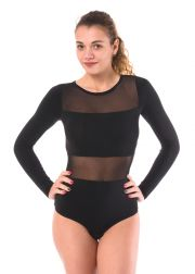Ladies' bodysuit thong style with stretch lace sleeves