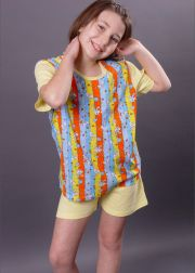 Kids' short sleeve woven pyjamas with pants